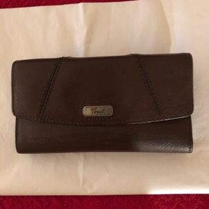 Fossil Brown Leather Wallet with Checkbook Holder